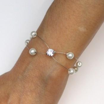 Bracelet de mariage blanc et strass BR1282A