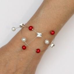 Bracelet mariage rouge blanc strass BR1284A
