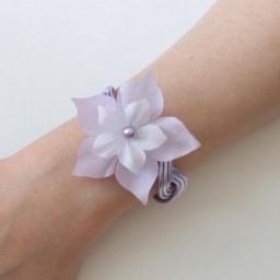 Bracelet mariage argent et parme + fleurs BRA316B