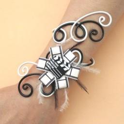 Bracelet mariage cinéma noir et blanc BRA336