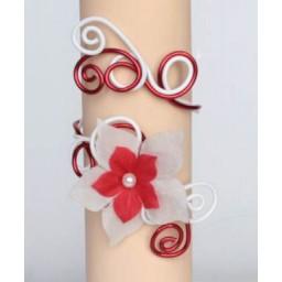 Bracelet mariage blanc et rouge + fleurs BRA248