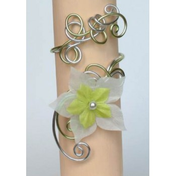 Bracelet mariage aluminium argent vert anis + fleur BRA270