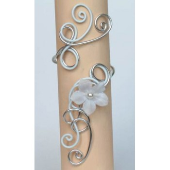 Bracelet mariage aluminium argent blanc + fleur BRA272