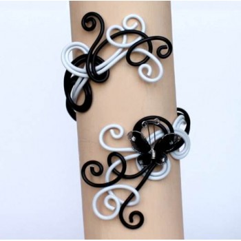 Bracelet mariage aluminium noir blanc + papillon BRA291