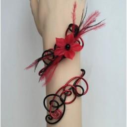 Bracelet mariage rouge noir fleur plumes BRA261A