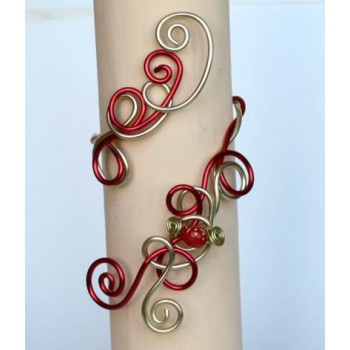 Bracelet mariage aluminium rouge or + coccinelle BRA290