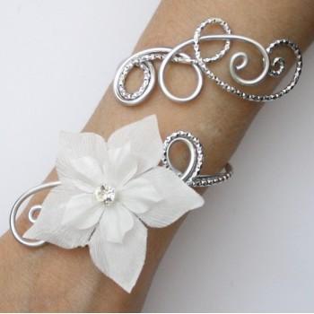 Bracelet mariage blanc argent fleur strass BRA353A