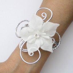 Bracelet mariage blanc argent fleur strass BRA353B