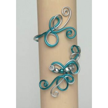 Bracelet mariage aluminium argent  turquoise et perles BRA255