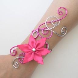 Bracelet mariage fuchsia et argent + fleur BRA234