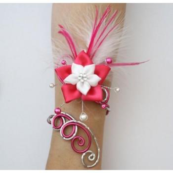 Bracelet mariage argent fuchsia fleur plumes BRA342