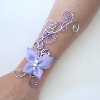 Bracelet mariage argent lilas papillon BRA323
