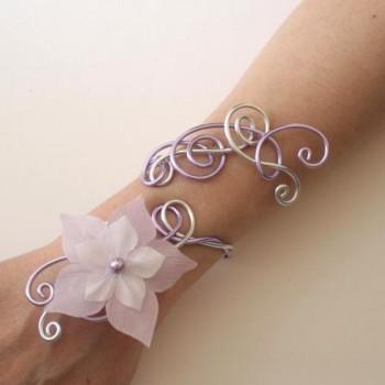 Bracelet mariage argent et parme + fleur BRA316