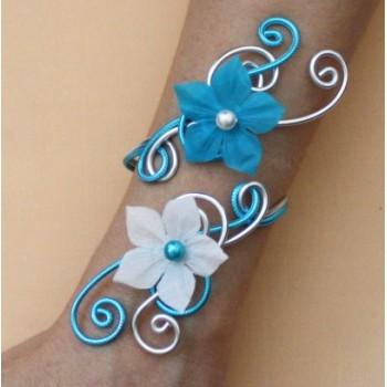 Bracelet mariage argent turquoise et fleurs BRA350