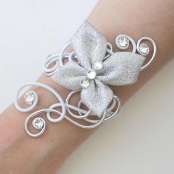 Bracelet mariage blanc argent strass papillon BRA328