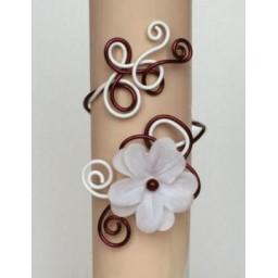 Bracelet mariage aluminium blanc bordeaux fleur BRA243B