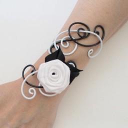 Bracelet mariage blanc et noir fleur BRA327