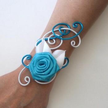 Bracelet mariage blanc turquoise fleur BRA325