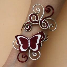 Bracelet mariage papillon bordeaux ivoire champagne BRA352