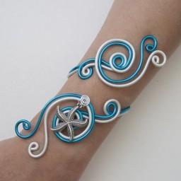 Bracelet mariage étoile de mer blanc et bleu turquoise BRA333
