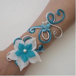 Bracelet mariage turquoise et argent + fleur + papillon BRA334