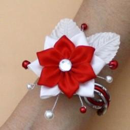 Bracelet mariage rouge blanc argent fleur BRA349