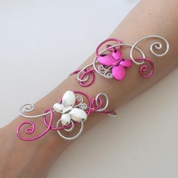 Bracelet mariage fuchsia argent papillons BRA330