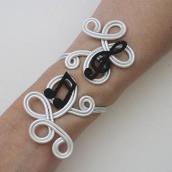 Bracelet mariage musique blanc et noir BRA332