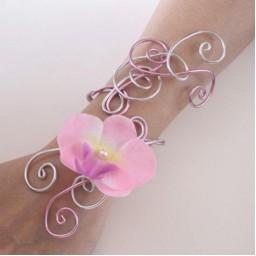 Bracelet mariage rose et argent orchidée BRA326