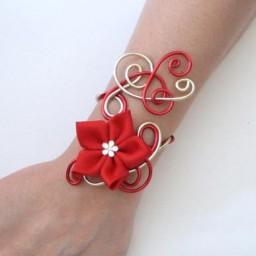 Bracelet mariage rouge doré fleur BRA324