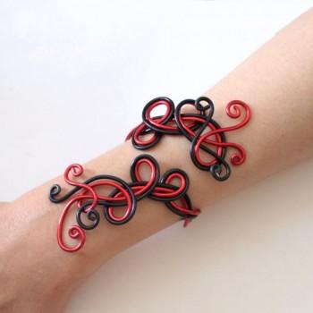 Bracelet mariage rouge et noir BRA103