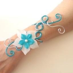 Bracelet mariage argent et turquoise BRA310