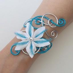 Bracelet mariage argent turquoise fleur plumes BRA329