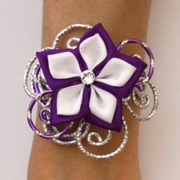 Bracelet mariage fleur blanc violet argent BRA343