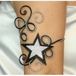 Bracelet brassard étoile noir argent BBA358