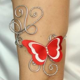 Bracelet Brassard papillon rouge et blanc BBA357