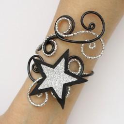 Bracelet mariage étoile noir et argent BRA358