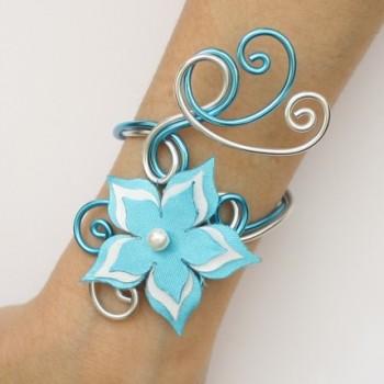 Bracelet mariage fleur turquoise blanc BRA359