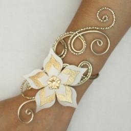 Bracelet mariage fleur ivoire champagne dore BRA354