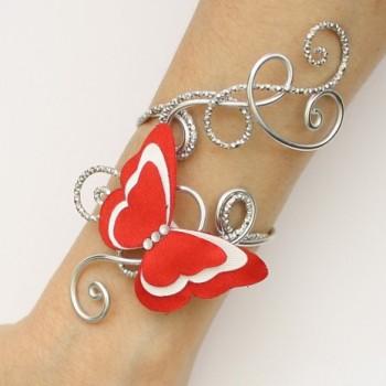 Bracelet mariage papillon rouge et blanc BRA356