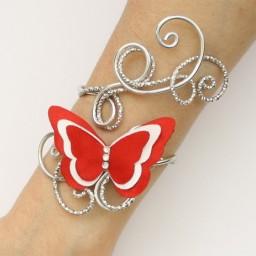 Bracelet mariage papillon rouge et blanc BRA357