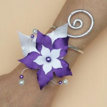 Bracelet mariage fleur blanc violet BRA360