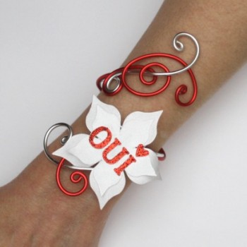 Bracelet mariage OUI blanc rouge argent BRA362