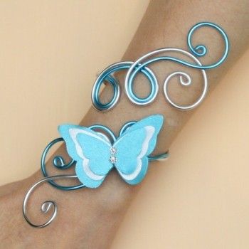 Bracelet mariage papillon argent  blanc bleu turquoise BRA361