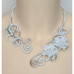 Collier mariage aluminium blanc argent + fleur COA272