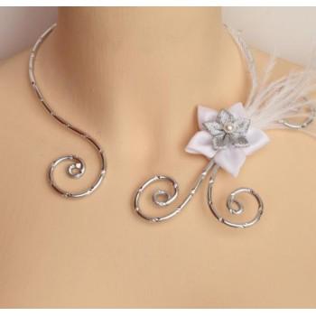 Collier mariage blanc argent fleur plumes COA340