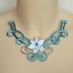 Collier mariage turquoise argent fleur blanche COA338