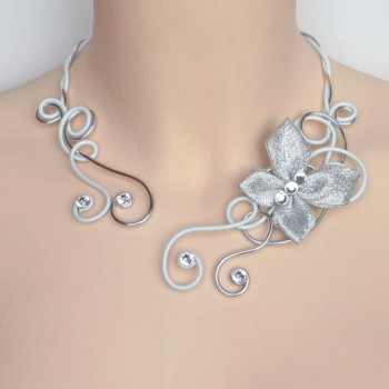 Collier mariage blanc argent strass papillon COA328