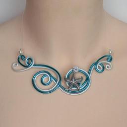 Collier mariage étoile de mer blanc et bleu turquoise COA333