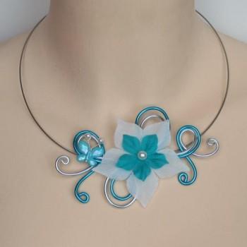 Collier mariage fleur papillon blanc turquoise argent COA334